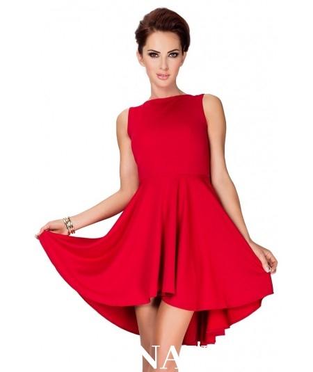 88568d059b2 33 2 Lacosta Ekskluzywna sukienka z dłuższym tyłem Czerwony