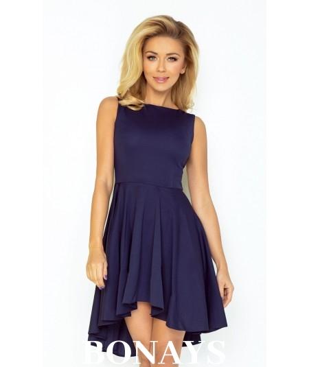 cbb697901a3 33 3 Ekskluzywna sukienka z dłuższym tyłem GRANATOWA