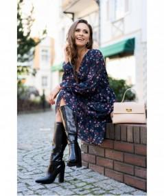 Kopertowa sukienka z szyfonu w kwiecisty print Lotama