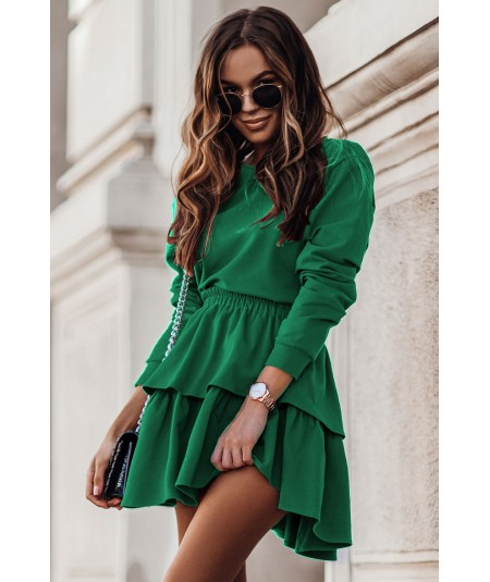 Dresowy komplet damski ze spódniczką LARISA bottega green