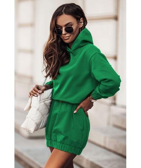 Dresowa bawełniana sukienka z kapturem VERA bottega green