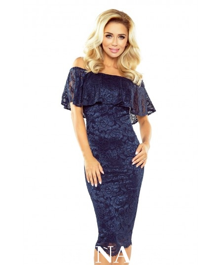 03bec63660 Sukienka typu hiszpanka - pokryta koronką - Granatowa